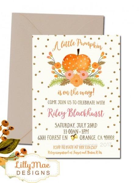 Fall Baby Shower Invitation Baby Girl Pumpkin Invitation