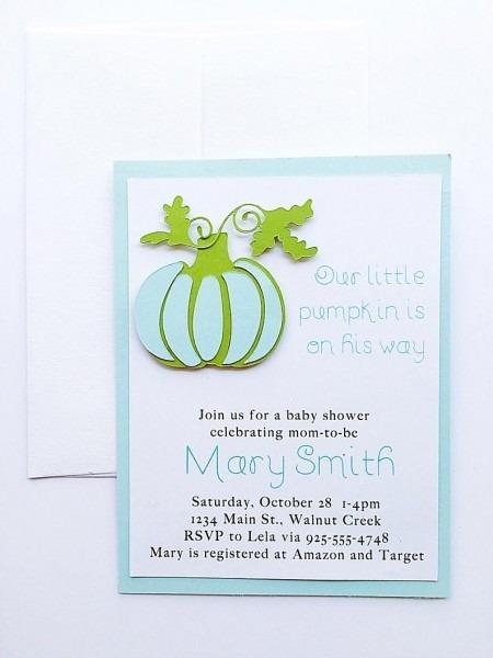 Baby Shower Invitation Boy  Pumpkin Baby Shower Invitation