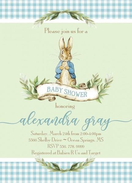 Peter Rabbit Invitation Baby Shower Printable Digital