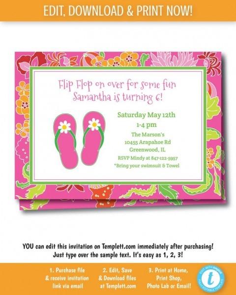 Preppy Flip Flop Pool Party Invitation Pool Party Invitation