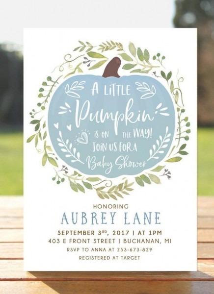 Pumpkin Baby Shower Invitation Fall Autumn Invite Baby Boy