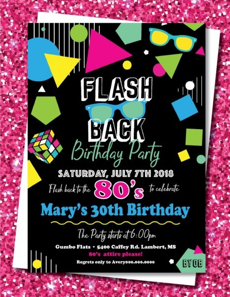 80's Party Invitation 80s Birthday Party Theme 80s Retro