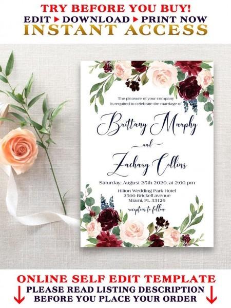 Navy And Marsala Wedding Invitation Template Editable