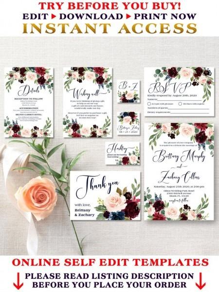 Wedding Invitation Template Burgundy And Navy Wedding Set