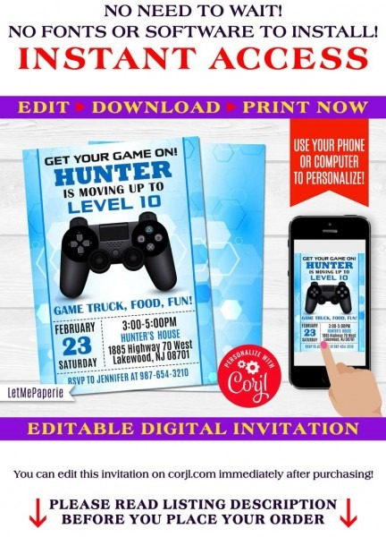 Video Games Invitation Template Editable Video Game Party