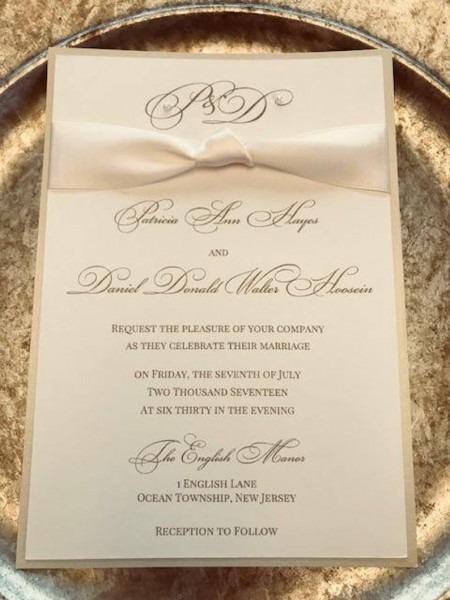 Ribbon Wedding Invitations Wedding Invitation Cream Wedding