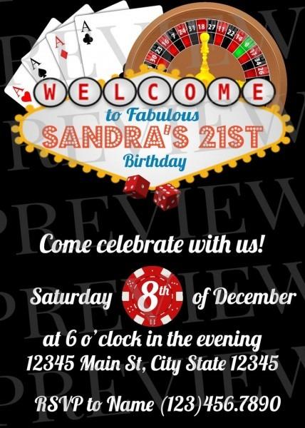 21st Birthday Casino Invitation Vegas Invitation Casino