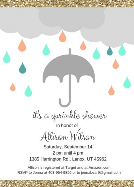 It's A Sprinkle Shower Baby Or Bridal Shower Invitation