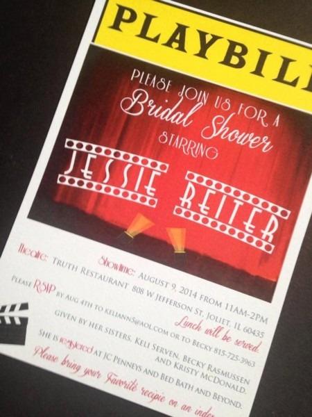 Playbill Invitations Broadway Theme Bridal Shower Birthday