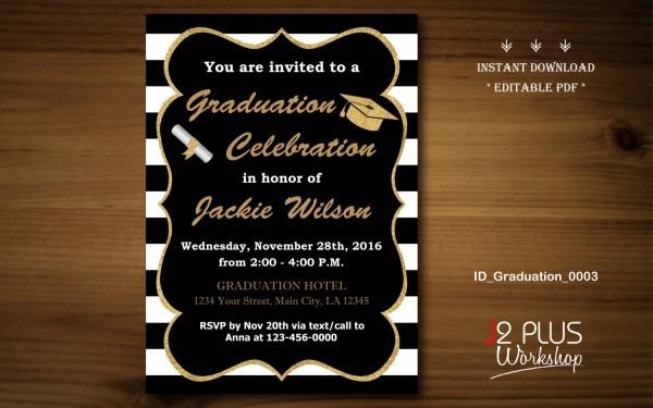 Instant Download Graduation Invitation Printable Gold