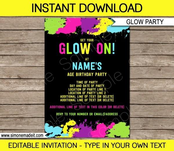 Glow Party Invitation Template Neon Glow Theme Birthday