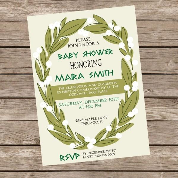 Greek Themed Baby Shower Invitation Greek Shower Invite