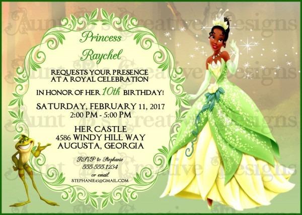 Tiana Birthday Invitation Disney Inspired Birthday