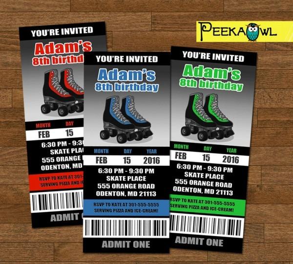 Personalized Roller Skating Invitation Ticket Boys Roller
