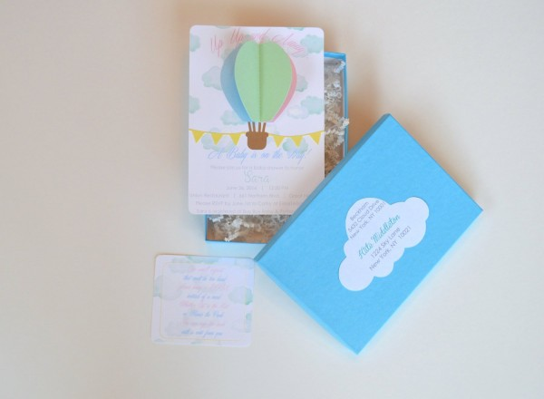 3d Hot Air Balloon Invitation With Paper Shreds And Box Hot