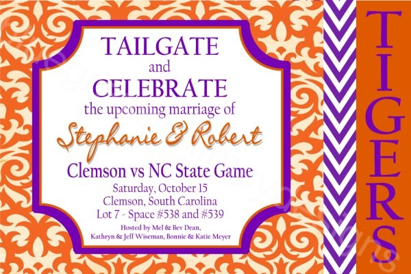 Clemson Engagement Party Wedding Shower Tailgate Printable
