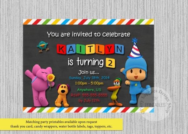 Printed Or Digital Pocoyo Birthday Invitations Chalkboard