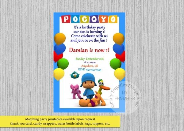 Printed Or Digital Pocoyo Birthday Invitations Pocoyo Party