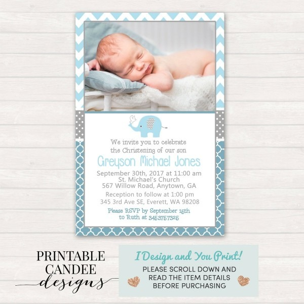 Elephant Baptism Invitation Christening Invite Dedication Blue