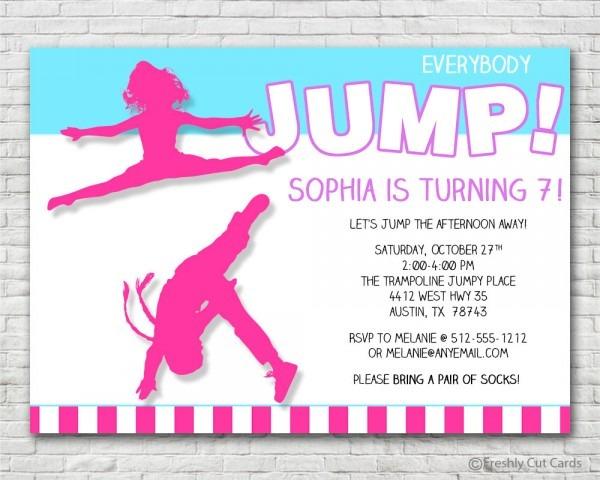 Everybody Jump Girls Birthday Invitation Printable Or