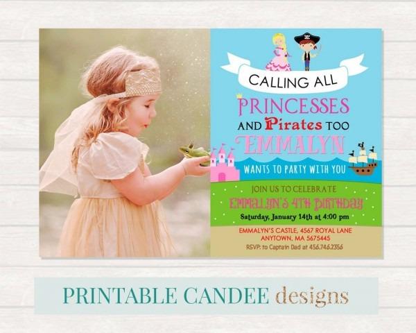 Princess And Pirate Birthday Invitation Princess Pirate