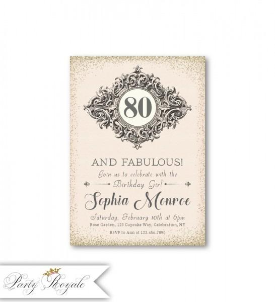 Elegant 80th Birthday Invitations 80 And Fabulous Formal