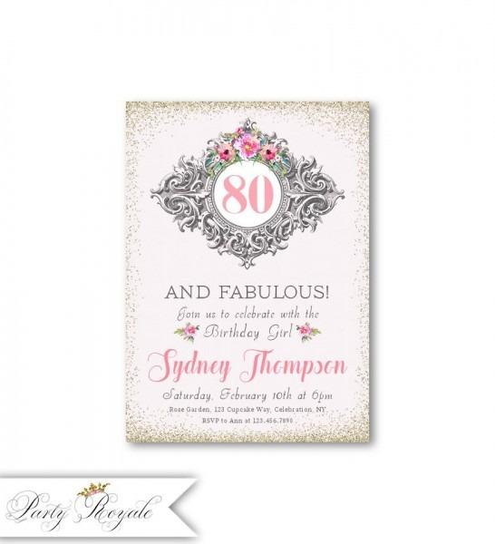 Elegant 80th Birthday Invitations 80 And Fabulous