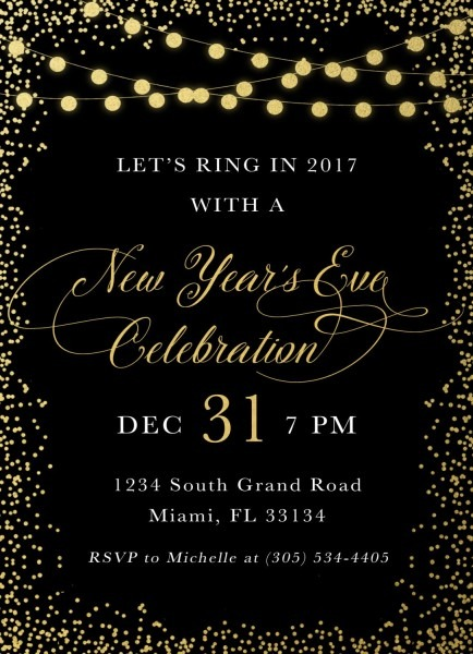 New Years Eve Invitation, New Year's Eve Party Invitation, Black And