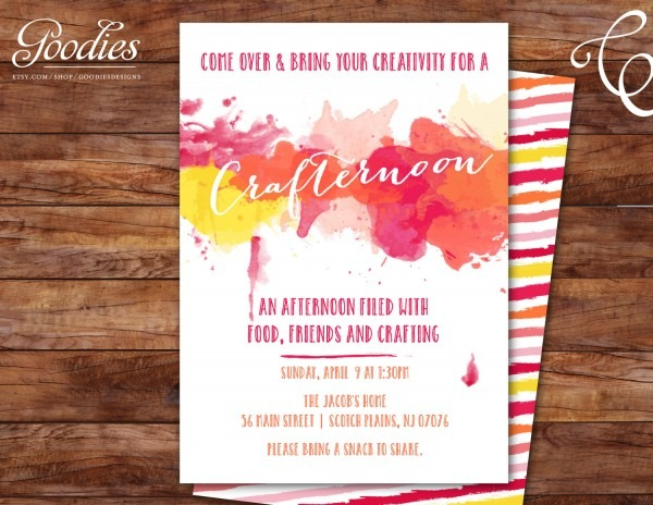 Craft Party Invitation Paint Night Crafter
