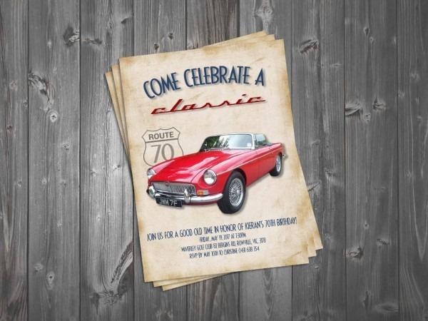 Come Celebrate A Classic 5x7 Birthday Invitation Classic Car