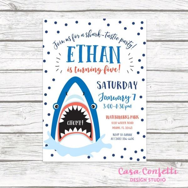 Shark Invitation, Shark Birthday Invitation, Shark Birthday Party Invite