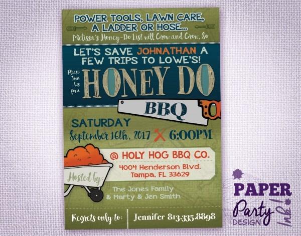 Honey Do Bbq Shower Invitation Digital 5 X7 Honey Do Bbq