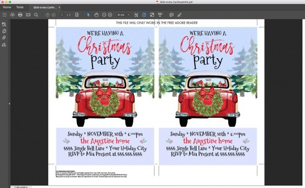 Christmas Party Invitation, Red Car Invite, Holiday Party