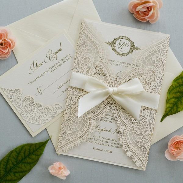 Ivory Chantilly Lace Laser Cut Wrap Invitation