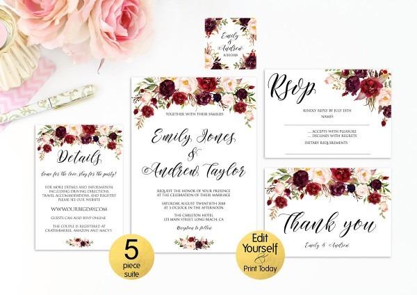 5 Piece Suite Burgundy Wedding Invitation Template Marsala