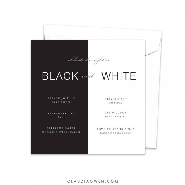 Black And White Party Invitation Meet And Greet Birthday
