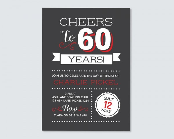 Cheers To 60 Years! 60th Birthday Invitation