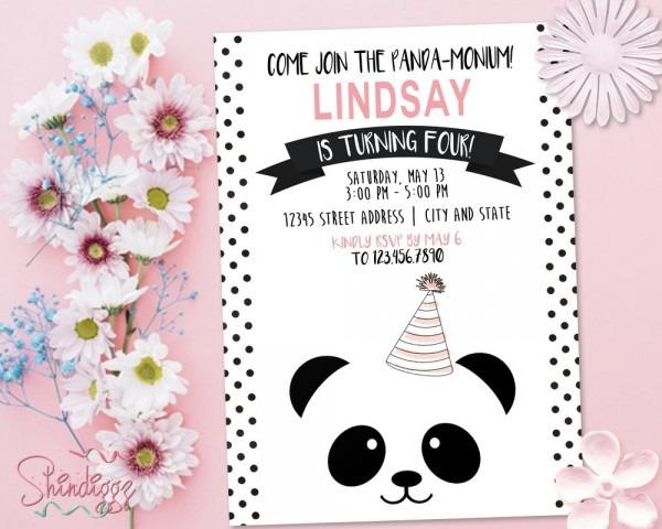 Panda Birthday Party Invitation Panda