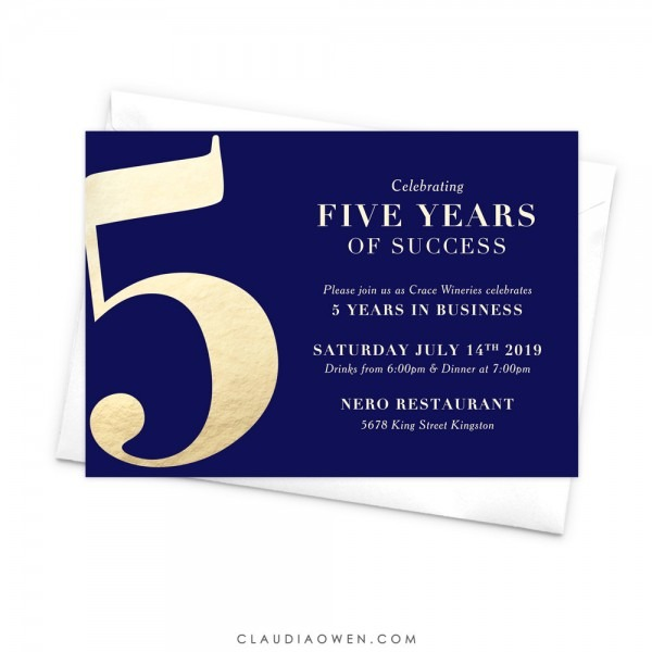 5th Year Anniversary Invitation Five Years Of Success Fifth