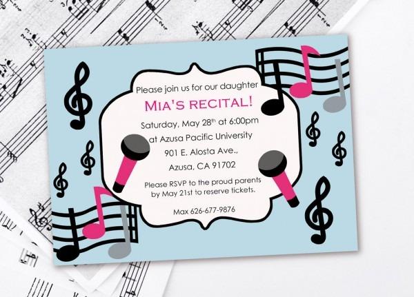 Music Birthday Invitation Music Recital Invitation Recital