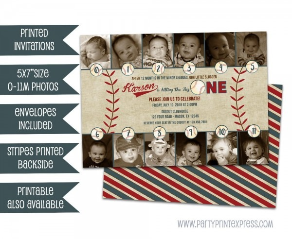 Photo Baseball 1st Birthday Invitations Little Slugger Photo