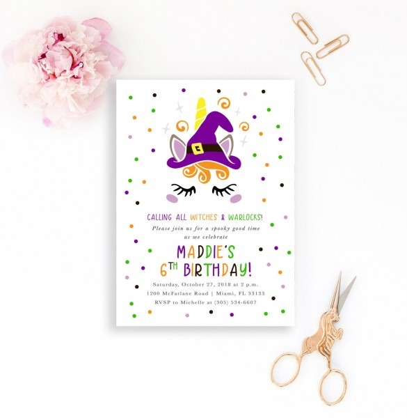 Witch Halloween Invitation, Unicorn Halloween Invitation, Witch