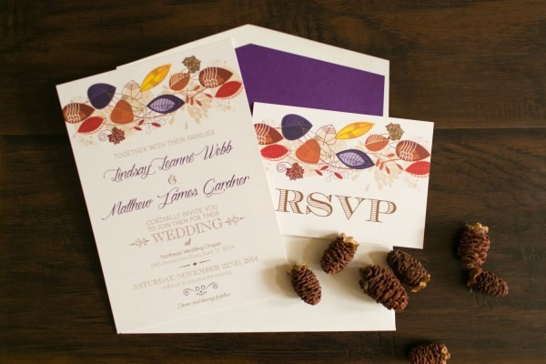Fall Wedding Invitation With Leaves In Purple, Red, Orange And