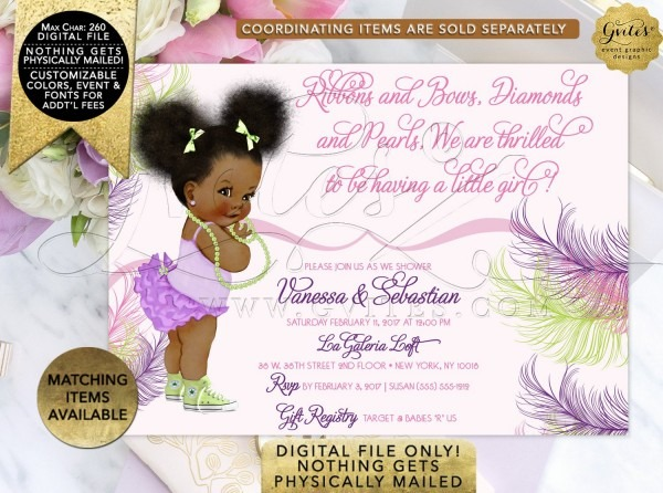 Pink Purple And Lime Green Baby Shower Invitation, African