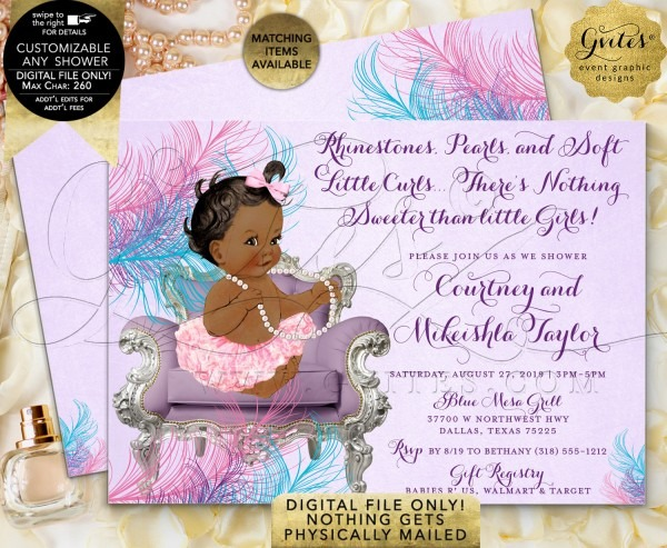 Pink Lavender Turquoise Blue Baby Shower Invitations