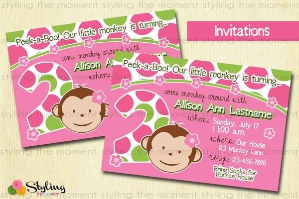 Pink Mod Monkey Invitation