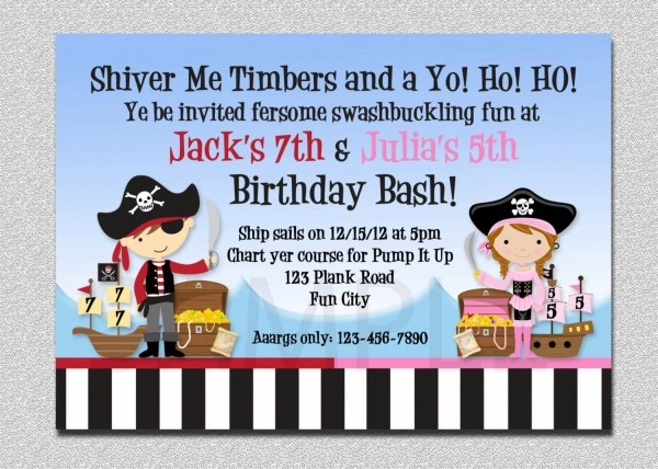 Pirate Birthday Invitation Twins Pirate Birthday Party