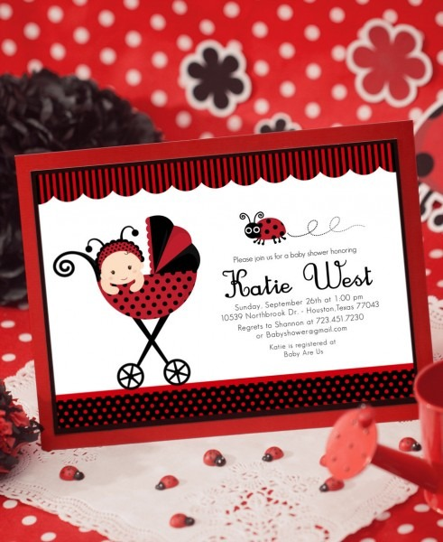 Red Lady Bug Baby Shower Invitation
