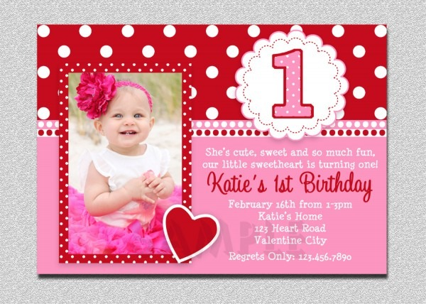 Valentines Birthday Invitation 1st Birthday Valentines