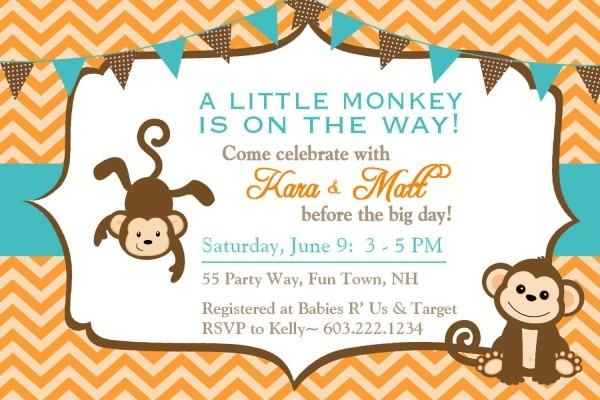 Baby Monkey Baby Shower Invitations